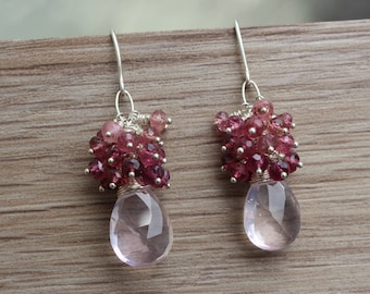 Rose Quartz Pink Tourmaline Sterling Silver Cluster Earrings