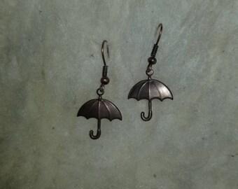 Brass umbrella drop earrings