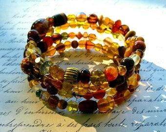 Bohemian Wrap Bracelet. multi bead bracelet. Earth tone Bracelet, Brown Bracelet, Boho Bracelet, spiral bracelet