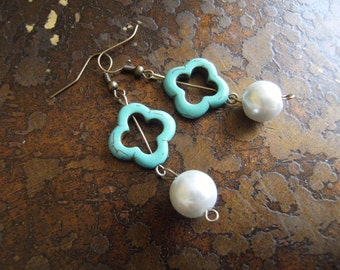 Wedding Blossom Howlite and Pearl Antique Brass earrings