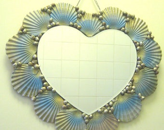 Blue and Gold Seashell Heart Mirror 48cm (w) x 42 (h)