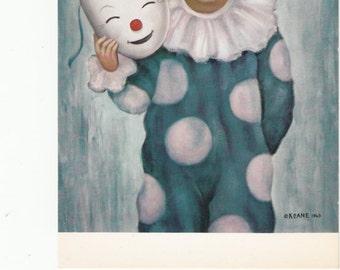 1964 Kean Wide Eyed Boy In Harlequin Suit W Mask Vintage Postcard, Has Ad On Back,Unused