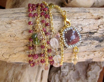 Dark red Sapphire- Rubies  - Multicolored Tourmalines - Amethyst -Rosary  Necklace - FREE SHIPPING -Eleftheria