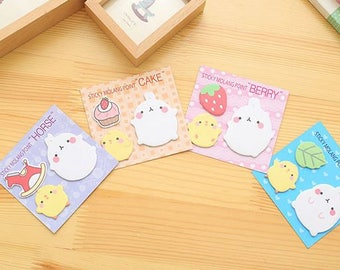 NEW!!!Cute MOLANG Sticky Note 3 in 1