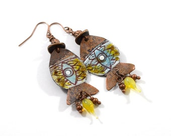 Handmade Blue and Yellow Copper Fish Earrings, Enameled Earrings, Fish Earrings, Copper Earrings, Artisan Earrings, Boho Earrings, AE001