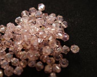 25 BICONES 4 mm Crystal pink AB N29