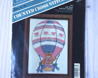Vintage Banar Designs Counted Cross Stitch, Bear In A Hot Air Balloon