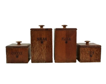 Kitchen Canister Set, Vintage Wood Canisters, 1960s Mid Century, Kitchen Storage, Pantry Storage, Kitchen Canisters, Farmhouse, Cottage Chic