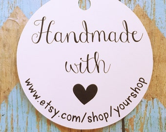 """Handmade with Love Tag, 2.5"""" Tag, Business Tag, Baked Goods Tag, Gift Tag, Handmade, Christmas Tag, Thank You Tag, Business Packaging (024)"""