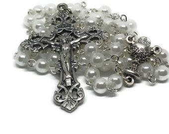 Rosary, Catholic White First Communion