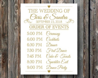 PRINTABLE Order Of Events Sign-Wedding Day Schedule-Wedding Day Timeline-Printable Wedding Sign-Wedding Itinerary Sign-Wedding Timeline Sign