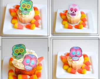 Edible Skulls.  Small set of 24 - Wafer Skeletons  Dia de los Muertos - Cake & Cupcake toppers - Food Accessories