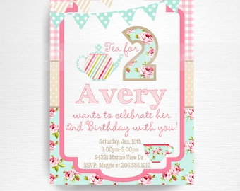 Tea Party Printable Invitation YOU Print Tea for Two Pink Blue Floral Tea for 2
