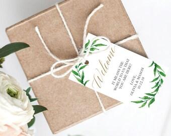Golden Greenery Welcome Tags - Printable Favor Tags - Wedding Favors - Welcome Tag - Editable Gift Bag Tags - Wedding Favor Tag - Printable