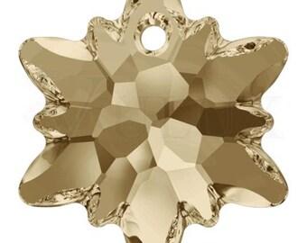 Swarovski 6748 Edelweiss Pendant  14 mm Crystal Golden Shadow