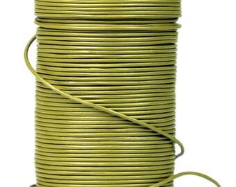 SALE - Olive Green Khaki Greek Genuine Leather Cord, By the Yard, round 1.5mm, DIY Mykonos Nautical Craft Jewelry Supplies