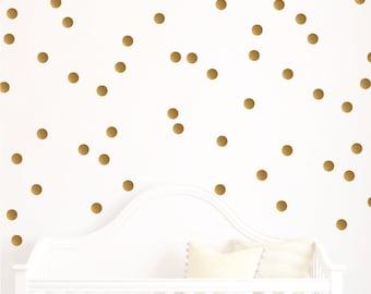 Gold Polka Dot Decals // Polka Dots // Playroom Decor // Polka Dot Decals // Polka Dot Design Bundles // Metallic Gold Dots// 35 colors