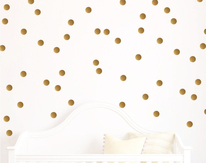 Gold Polka Dot Decals // Polka Dots // Playroom Decor // Polka Dot Decals // Polka Dot Design Bundles // Metallic Gold Dots// 35 colors