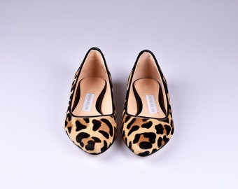 Anna Milan Black Leopard Ballerina Flats 100% Authentic