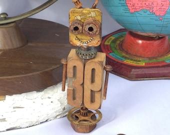 39- robot, sculpture, vintage finds, letterpress, assemblage