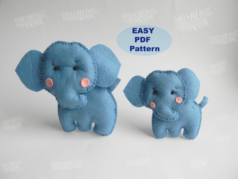 Elephant easy pdf pattern felt hand sewing elephant plushie zoom jeuxipadfo Choice Image