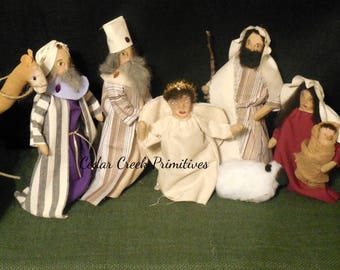 Handmade 10 piece primitive folk art nativity