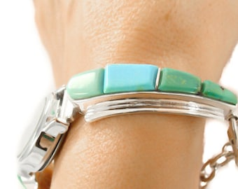 Navajo Turquoise Cobblestone Inlay Toggle Watch David Rosales Collection Sterling Silver, Vintage gift watch, Made in USA