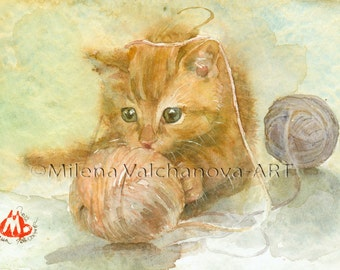 for her Cat painting  Cat art PRINT of watercolour painting  Cat PRINT art cat artwork cat decor wall Orange Cat, Кitten playing with balls