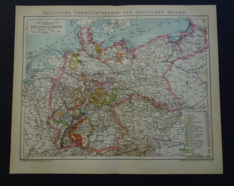 GERMAN EMPIRE old map of Germany 1905 original antique dated print/poster about Imperial Germany - detailed vintage maps