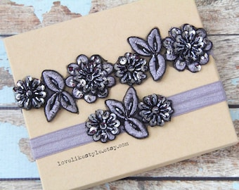 Dar Gray  Beaded Flower Lace Wedding Garter Set, Gray  Lace Garter Set, Toss Garter , Keepsake Garter / GT-30