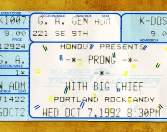 Prong Concert Ticket Stub, Portland, OR 1992
