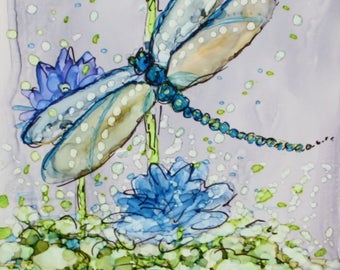 DRAGONFLY INSPIRATION - 4.25 x 8.5 Inch Original Alcohol Ink Painting on Ceramic Tile