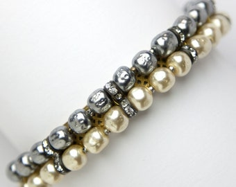 Miriam Haskell Bracelet | Grey & Cream Pearl Bangle with Rondelles