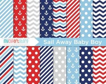 Digital Paper - Sail Away Baby Boy, Nautical, Scrapbook Paper, Digital Pattern, Commercial Use, JPEG, PDF