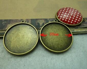 10ST Antique Bronze 30mm Double-Face Runde Lünette Cup Cabochon Fassungen AC6140
