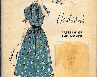 Vintage 1950s Advance 5393 Hudson's Store Dress Promotional Sewing Pattern Of The Month Size 12 Bust 30