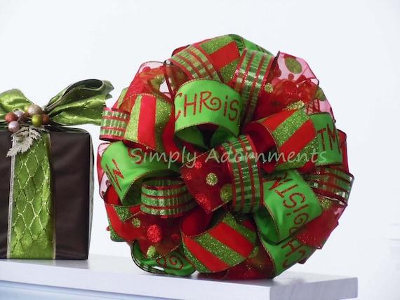 Whimsical Red Green Christmas Bow Sparkling Red Lime Green Christmas Tree Top Bow Christmas Tree Topper Bow Wreath Swags Holiday Gifts Bow