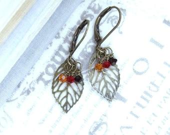 Fall Leaf Earrings Leaf Dangle Earrings  Small Leaf Earrings Autumn Leaf Earrings Leaf Drop Earrings