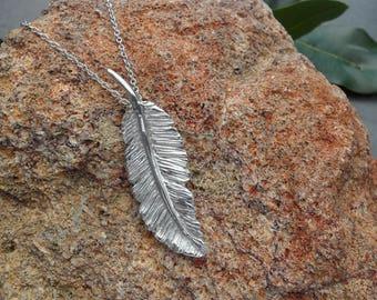 Fine Silver Feather Pendant