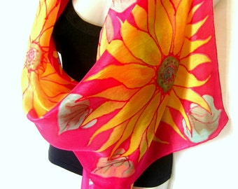 "Sunflowers Silk Scarf Handpainted, Hand Painted Silk Scarf, Red Yellow , Floral Silk Scarf, 71"" x 18"", Gift For Her"