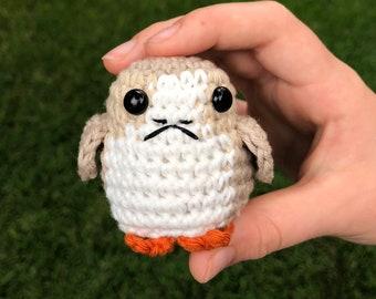 Porg inspired crochet amigurumi stuffie