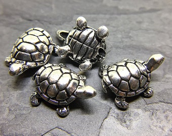 Silver Plated Turtle Beads, Turtle Shaped Beads, TierraCast Silver Turtle, Small Silver Turtle Beads, 16x12mm - 4 beads (CH-75)