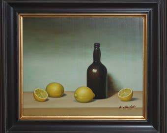 Original Signed Vintage Still Life Oil-Lemons & Glass Bottle-Nicely Framed