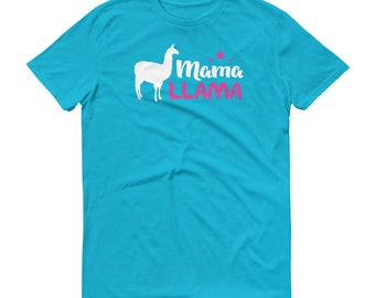 Pink Mama Llama T Shirt Colorful Pink Funny Tshirt Gift For Mother Mom From Kids Cute Alpaca Unisex Tee