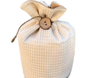 Spare Toilet Paper Cover in Off-White or Cream Colored Waffle Fabric with Caramel Lining