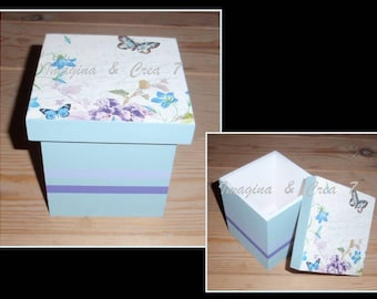 Jewel Box wooden floral butterflies blue Purple