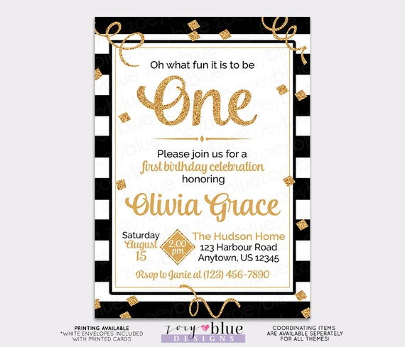 Black white gold girl first birthday invitation gold glitter black white gold girl first birthday invitation gold glitter 1st birthday the big one oh what fun to be one confetti printable invite filmwisefo