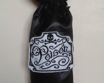 Poison satin fabric bottle bag,  gift bag, party bag, House warming, what's your poison?  UK