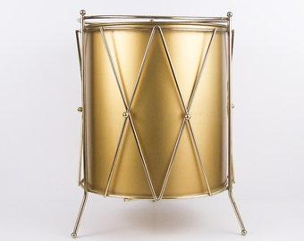 Vintage Gold Trash Can Mid Century Metal Waste Basket