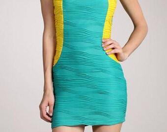 Textured Yellow & Blueish-Green Sleeveless Bodycon Dress